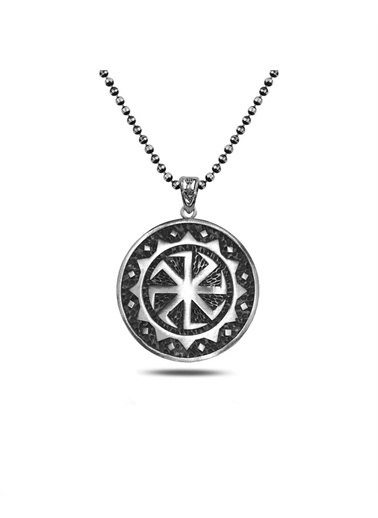 Enesstore Iskandinav Viking Madolyon Erkek Gümüş Kolye Siyah